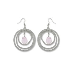 Pink glass bead earrings with fish hook