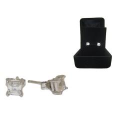 High End Wholesale Emerald Cut Stud Earrings Boxed