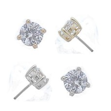 Swarovski Cz Stud White Gold Earrings 3 mm buy wholesale