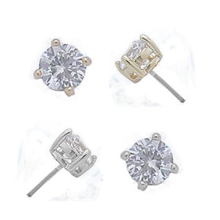 Swarovski wholesale White Gold Cz Stud Earrings 5 mm