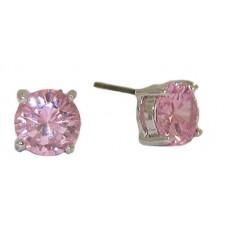 One tone silver pink CZ 6MM stud earrings