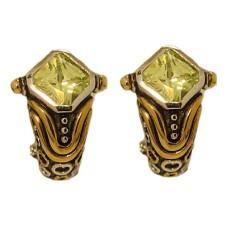 Peridot Simulated Diamond Designer Earring