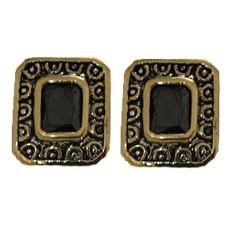 Jet Cz Designer Earrings Accented 18 KT Gold