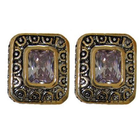 Lavander Cz Designer Earrings Accented 18 KT Gold