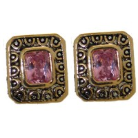 Pink Designer Simulated Diamond Earrings