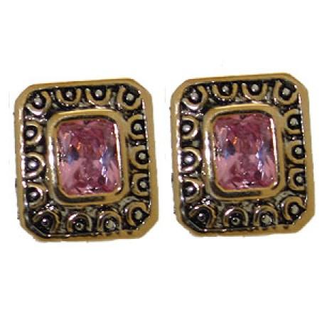 Pink Designer Simulated Diamond Earrings