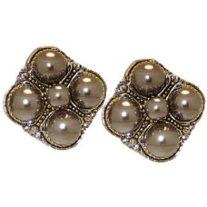 Gunmetal Pearl Crystal Designer Earrings