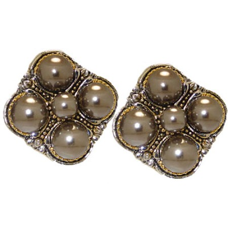 Gunmetal Pearl Crystal Designer Earrings