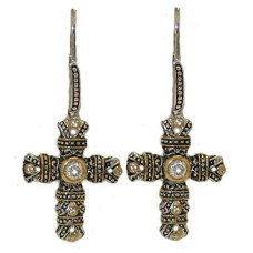 White Designer Cross Earrings