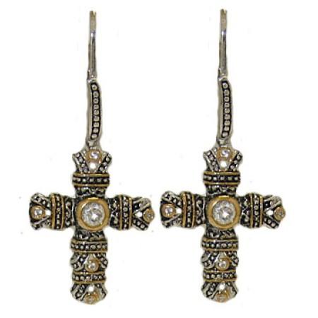 White Designer Cross Earrings