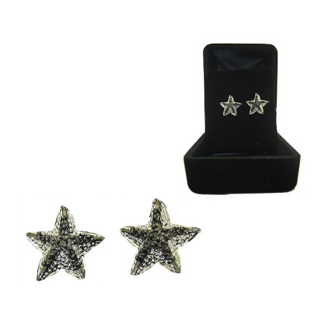 2 Tone Silver and Gun Metal Black CZ Starfish Earrings Boxed