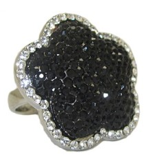 Jet Black & White Crystal Wholeale Ring