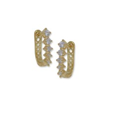 White CZ huggie style wholesale earrings