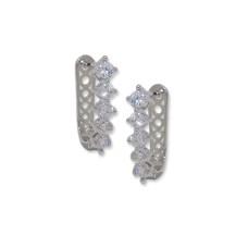 Silver & white CZ huggie style earrings