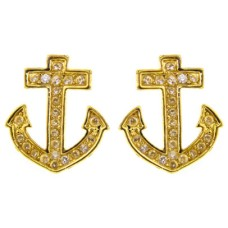 Yellow Gold Anchor And Crystal Stud Earrings