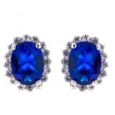 Blue sapphire CZ earring