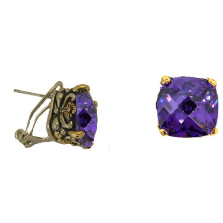 Designer Cable Jewelry Earring Amethyst