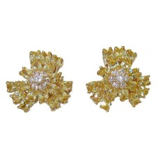 Cz Citrine Yellow Flower Earring Special 1 inch