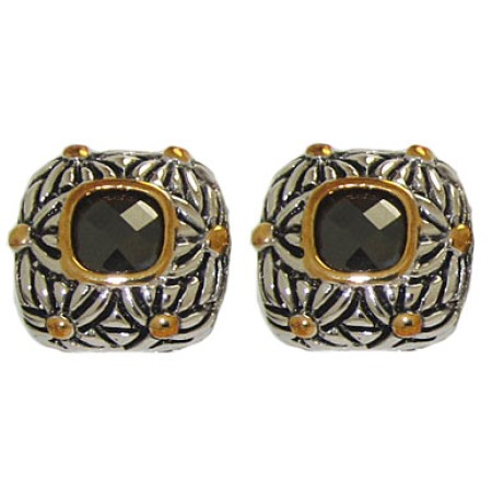 Designer Cable Fashion Earring in Jet Black
