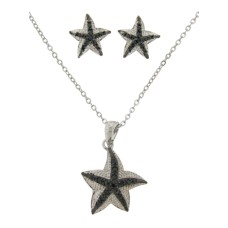 2 Pcs Pave Star Fish Earring and Necklace Set