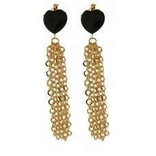 Gold & Black Heart Tassel Earrings 3 inches