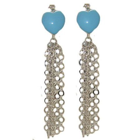 Turquoise Heart Tassel Earrings 3 inches