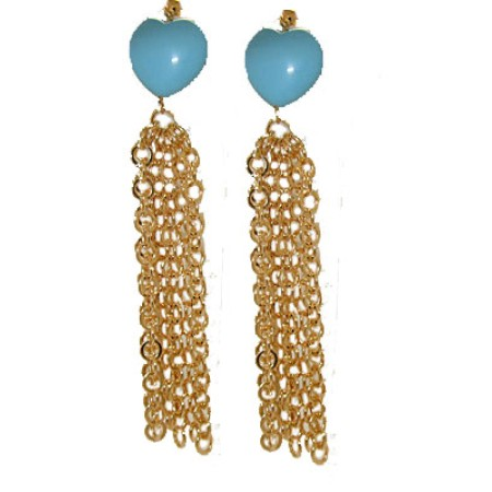 Gold And Turquoise Heart Tassel Earrings 3