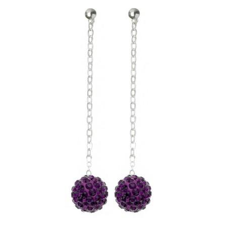 Fireball Pave Earring Purple Amethyst