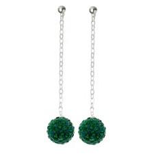 Fireball Pave Earring Emerald Green