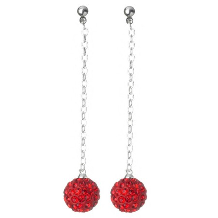 Fireball Pave Earring Ruby Red