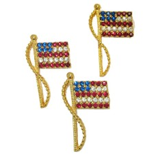Rhine Stone Flag Pin Patriotic Jewelry