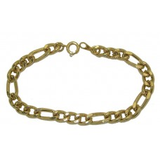 Figaro Chain Bracelet Yellow Gold Plated