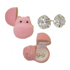 Crystal Earrings in Flocked Hippo Box