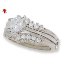 Classic Two Piece CZ Wedding Set, engagement ring in white gold