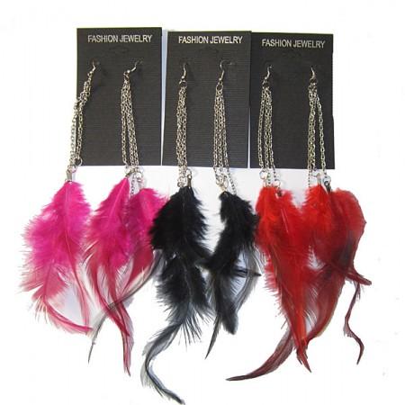 Multi Chain Feather Earrings