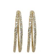 YELLOW Double Hoop white crystal Earring 30 mm
