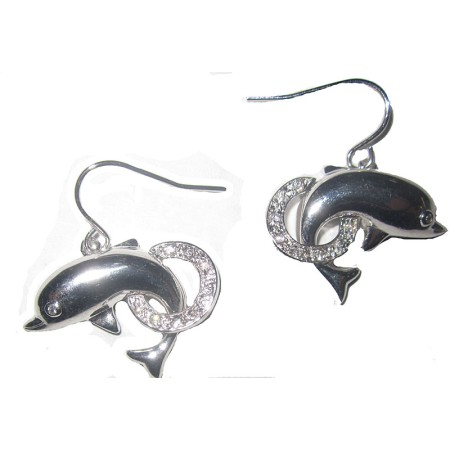 Silver And White Dolphin Earrings