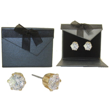 Yellow Gold Shaped Earrings Fabulous CZ