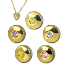 CZ Slider Pendant Sparkling gold plated CZ round sliders and chain with 3 Charms