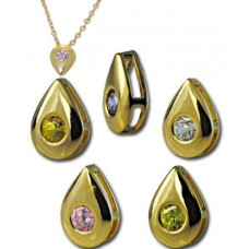 CZ Slider Pendant Sparkling gold plated CZ round sliders and chain 3 charms