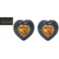 Joan River Boxed Enamel Earring with CZ Heart