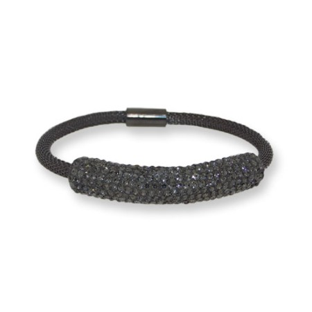 Stainless mesh wholesale bracelet with Hematite Crystals