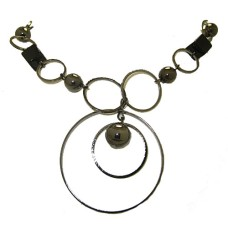 12 Circle And Black Squares Necklace Closeout