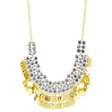Gold Necklace Accented in Crystal