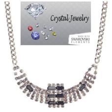 Jet Black Crystal Necklace set in Silver