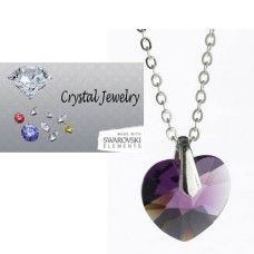 Swarovski Austrian crystal Amethyst necklace with pouch White