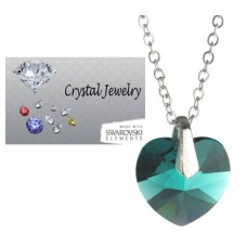 Swarovski Austrian crystal Emerald Green necklace with pouch White