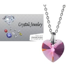 Swarovski Rose Pink crystal necklace with pouch