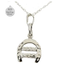 Silver Good Luck Horse Shoe Pendant And Chain