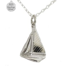 925 Sterling Silver Sail Boat Pendant & Chain